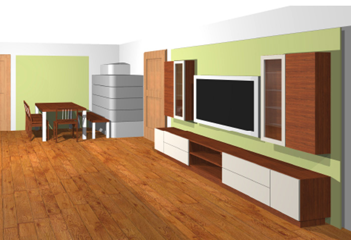 galerie wohnzimmer wohnwand in nussbaum furniert mit wei lack kombiniert. Black Bedroom Furniture Sets. Home Design Ideas