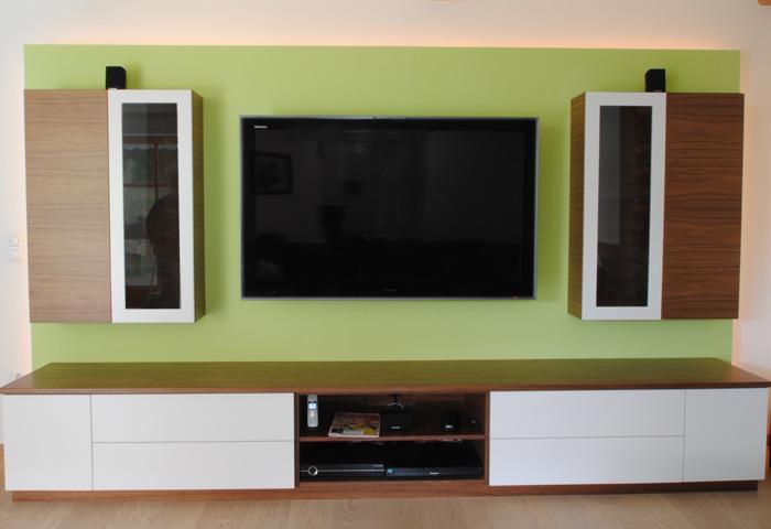 wohnwand nussbaum furniert, galerie wohnzimmer > wohnwand in nussbaum furniert, mit weißlack, Design ideen